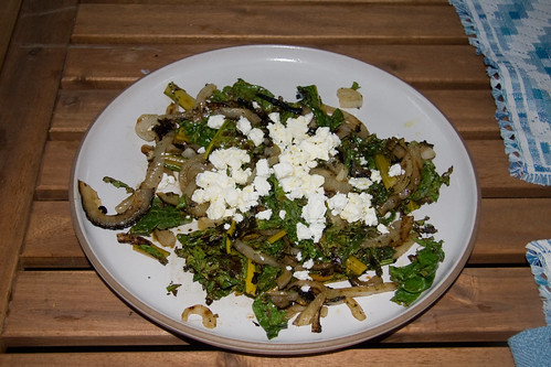 Grilled Onion and Chard with Feta