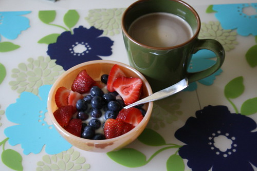 Stonyfield yogurt with berries, coffee