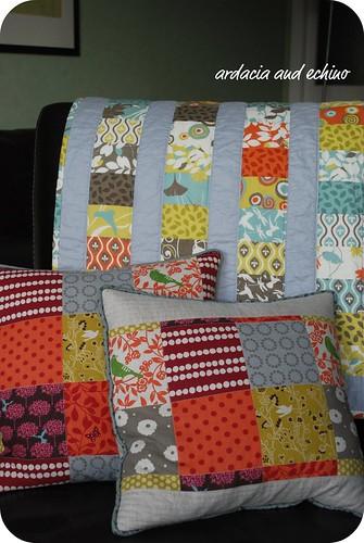 arcadia quilt and echino cushions