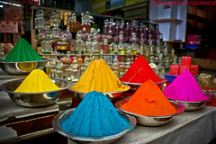 Colourful stalls with tikka powder in the mysore market, karnataka, south india (anthony pappone photographer) Tags: india color colors digital colorful asia colours colore market picture culture colourful karnataka mysore mercato tikka southindia phototravel eos400d tikkapowder earthasia