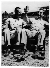 Everett Newell and Rogelio Drinking Beer at Maluhia Enlisted Men's Club Waikiki, Hawaii c. 1945 (Maine Transplant) Tags: wwii ww2