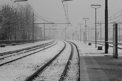 an invisible destination... (anania fortunato) Tags: snow station train canon railway bn 1855mm calabria cosenza 600d infrastrutture