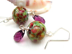 Floribunda - Sold (Beguiled By The Bead) Tags: earrings glassbead lampwork sterlingsilver