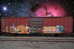 RYOE  MERS (TRUE 2 DEATH) Tags: railroad train stars graffiti tag graf trains aliens railcar nebula spaceship spraypaint outerspace et railways railfan freight aub villains lords cbs spacemen freighttrain rollingstock mers benching freighttraingraffiti ryoe