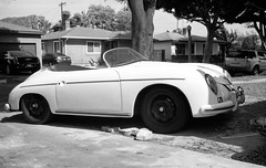 1956 Bathtub Porsche Speedster 356A - Olympus Wide-S (Wide Super) - TMAX 100 (divewizard) Tags: auto california blackandwhite