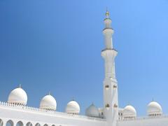 Domes and tower of the Grand Mosque (GottaSmile) Tags: dubai uae mosque abudhabi chandeliers unitedarabemirates workmanship grandmosque amazingbuilding marblemonument inlaywork sheikhzayedmosque goldleafwork beautifulstucture