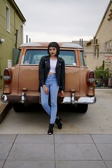 Taylor 36 (rossjordanphotography) Tags: california houses classic home girl beauty car leather fashion dark intense model punk moody ride sandiego grunge lips neighborhood jeans jacket redlips rocknroll blackhair rjp highwaisted rossjordanphotography