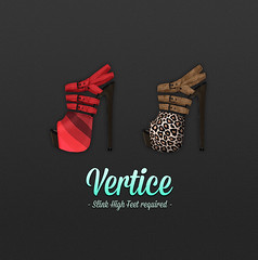 [ Vertice ] High Heeled Ankle Sandals (Red Move + Feline Instinct) (Vertice - Styling Resource -) Tags: wood red feet leather animal cat print high sandals thrift heels ankle exclusive striped vertice strapped slink