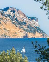 Cassis ( / Cyril) Tags: cassis seascape seashore blue bleu sea mer mediterrane rocks cliff sailingboat provence provencealpesctedazur france
