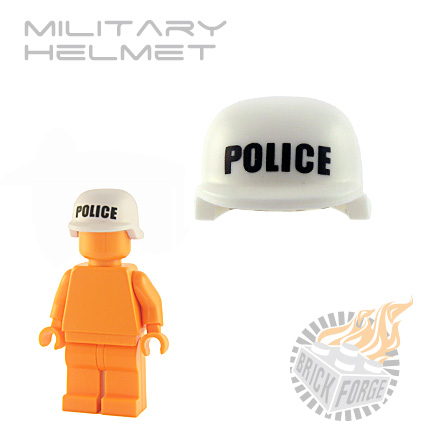 Military Helmet - White (black POLICE print)