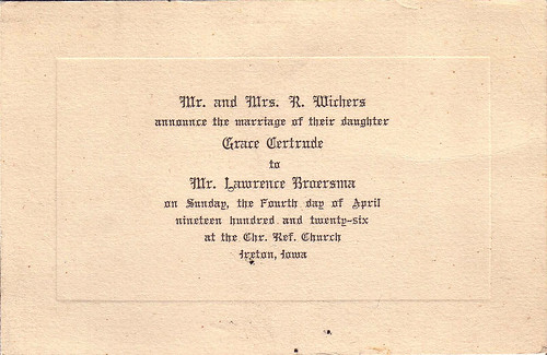 1926 - Broersma Lawrence & Grace Invite
