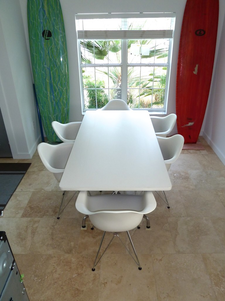 Eames White Dining Table & Eames Plastic  Molded Chairs by Herman Miller