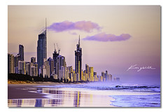 Golden Glow ([ Kane ]) Tags: ocean city morning pink wet water clouds reflections landscape photography dawn coast construction sand waves cityscape peach queensland kane australiaday goldcoast kanegledhill kanegledhillphotography wwwkanegledhillcom