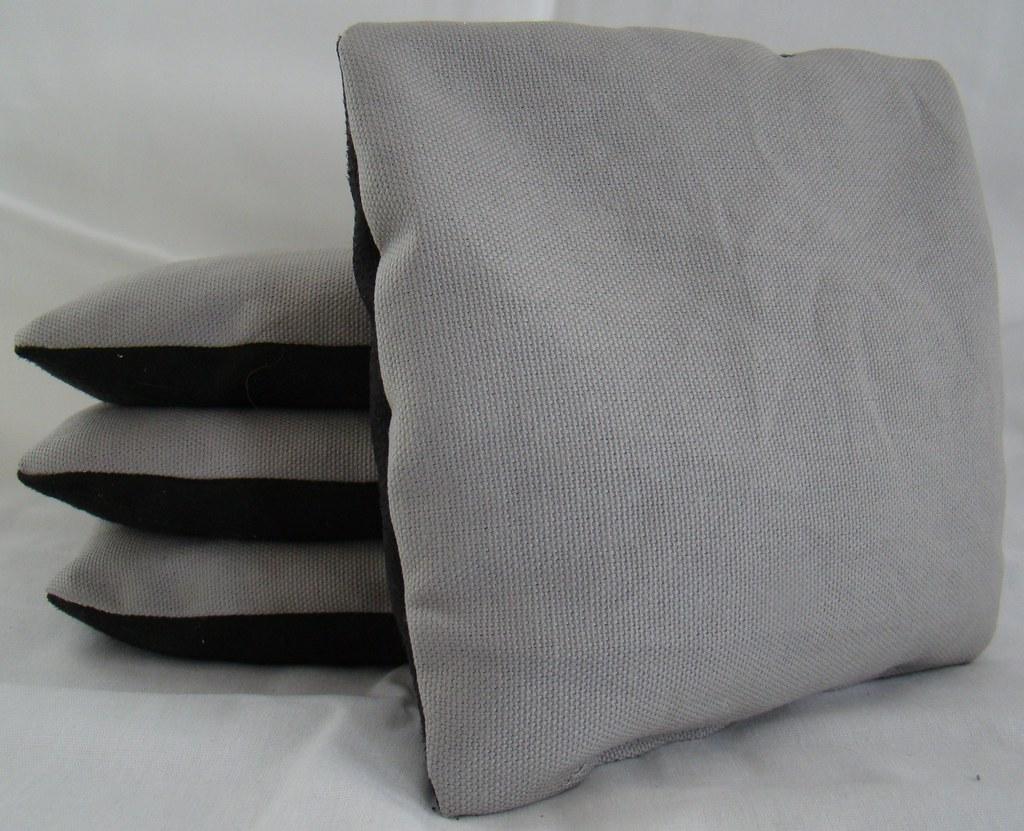 Grey & Black Suede Dual Sided Cornhole Bags