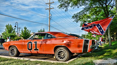 1969 Dodge Charger (Chad Horwedel) Tags: orange classic car illinois flags dodge dukesofhazzard hdr charger generallee dodgecharger downersgrove 1969dodgecharger downersgrovecruisenight