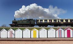 Beach huts and steam (mikespencerphotos) Tags: holiday beach seaside smoke steam devon beachhuts torbay goodrington