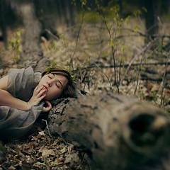 in between realities. (amlentz) Tags: sleeping selfportrait girl log branch sleep dream dreaming squareformat conceptual twigs
