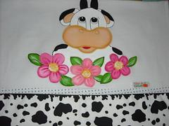 vaca flores (Pintura em tecido. Panos de prato.) Tags: vacas galinhas panosdeprato espantalhos panodecopa