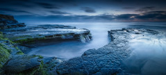 Sunset Cliffs Dusk (Doug Knisely) Tags: 1735 abyss blue blur blurred cliffs d700 dusk longexposure moss nikon ocean pano panorama rocks sandiego sky sunset sunsetcliffs water waves gnd 3stophard singhray