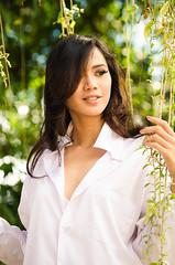 Maya #4 (eggysayoga) Tags: portrait bali woman white sexy film shirt indonesia asian model nikon women bokeh 85mm portraiture oriental 18 sanur f18d tfb vsco d7000 tamanfestivalbali mayaseptira