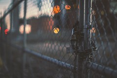 Locked out (Blockshadows) Tags: dreamy dream soft grimey grime canon50mmf12 orange colors tones tone moody somber muted denver colorado mark4 markiv canon5dmarkiv canon 50mm12 50mm barbwire locked energy xcel twilight sunset lights bokeh streetphotography street urban city downtown industrial fence chains locks