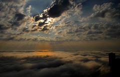 Lake Michigan Fog over Navy Pier (doug.siefken) Tags: blue sky lake chicago tower art fog john artwork indiana center national hancock geographic poin siefken dougsiefken