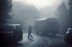 successful drop (sparth) Tags: road seattle morning school mist bus cars silhouette fog walking grey early washington haze foggy stop redmond schoolbus pnw 70200 brouillard sammamish 70200f4l 70200l