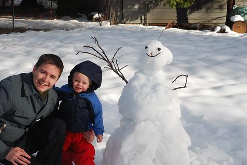 Finn's first snowman