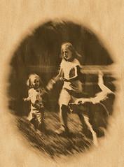 Girls and dog running