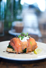 smoked salmon, poached eggs, spinach with goats cheese on toast... (~ geisha ~) Tags: breakfast cafe spinach smokedsalmon goatscheese poachedeggs theboathouse withsandyxeniaandasti atpalmbeach