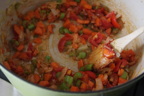 browning & adding in tomato paste