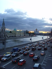 Road near to the river () Tags: road sunset sky cars night clouds river evening christ cathedral russia moscow saviour