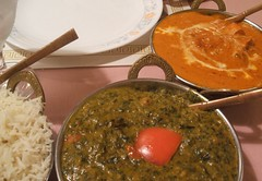 Rice, palak chole, chicken tikka masala