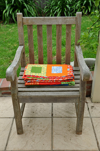 Jacob's quilt - folded up on chair - 1