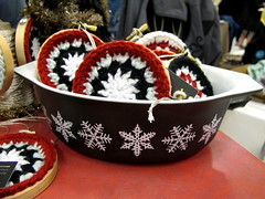 Snowflake Pyrex in the Booth (Victory Garden Yarn) Tags: snowflake booth pyrex craftfair ucu urbancraftuprising pyrexinaction blacksnowflake