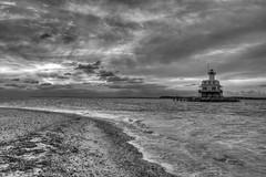 Long Beach Bar Lighthouse (Bill McBride Photography) Tags: park blackandwhite lighthouse ny seascape canon bug landscape eos rebel li state landmark longisland nautical 1022 xsi orientpoint newyor efs1022 450d canon450d canonxsi december2010 longbeachbarbuglighthouse