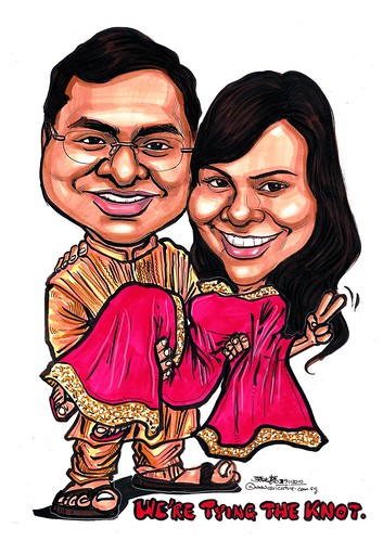 Traditional Indian wedding couple caricatures