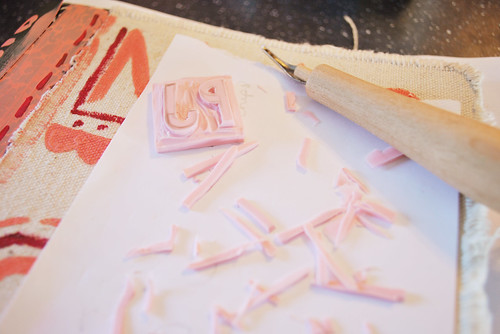 carving a stamp for pj's present
