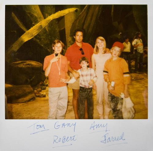 Tom Wilson Brown, Gary Spatz, Amy O'Neil, Jared Rushton, and Robert Oliveri on the set of Honey I shrunk the Kids
