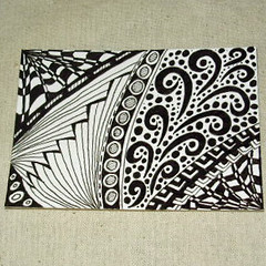 ACEO Zendoodle #6 ( Z.Ford) (Zo Ford) Tags: white black art monochrome atc illustration drawing doodle aceo sfa zentangle zendoodle topfloortreasures
