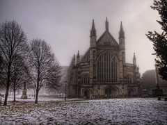 Winchester Cathedral in the Freezing Fog (neilalderney123) Tags: trees winter snow church fog cathedral freezing spooky melt winchester gettyimagesuklocation