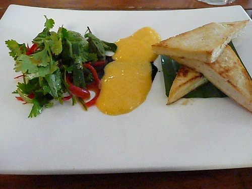 Sprout - grilled organic tofu with mango sabayon and asian herb salad