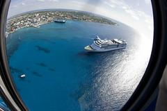 Jewel of the Seas (blueheronco) Tags: tour aerialview georgetown helicopter cruiseship caymanislands grandcayman caribbeansea fisheyelense jeweloftheseas caymanislandshelicopters seaboardventure
