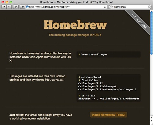 Homebrew — MacPorts driving you to drink? Try Homebrew!