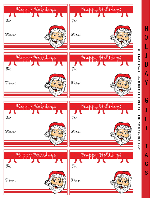 Holiday gift tags - Santa heads 600