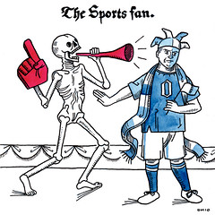 Danse Macabre: The Sports Fan. (quirkybird) Tags: sports illustration skeleton death fan danse medieval macabre vuvuzela