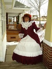 Laurette at Christmas (Laurette Victoria) Tags: outdoors outside victorian wisconsin hoopskirt laurettevictoria laurette costume woman snow winter dress
