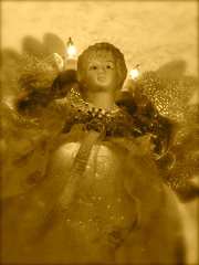 Angel Near the Ceiling (jwrandal) Tags: christmas winter blur sepia angel pittsburgh christmastree ceiling dreamy topper