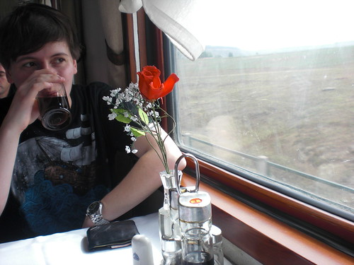 Me in a restaurant car, from Vodkatrain