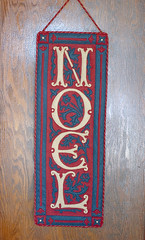 Noel banner made with red, navy blue and khaki felt applique (kizilod2) Tags: christmas blue red crimson wine sewing banner navy decoration tan khaki craft felt camel applique wallhanging dropcaps
